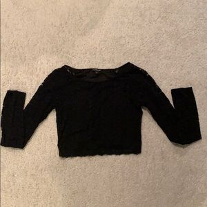 Long sleeve lace crop top